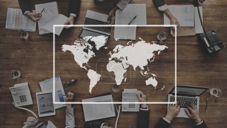 business people and global map
