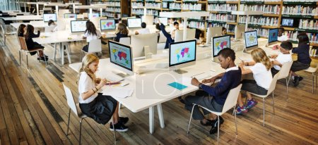 elementary pupils in computer classroom