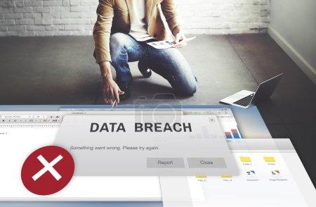 Businessman working with Data Breach