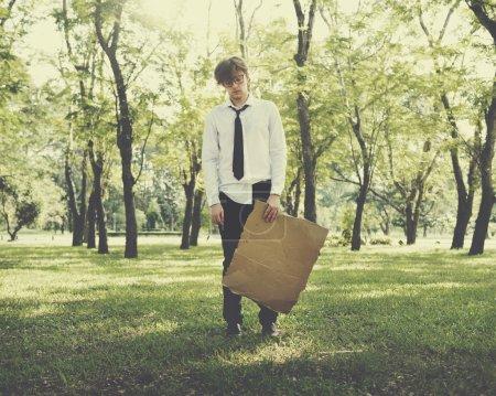 Businessman with empty Blank