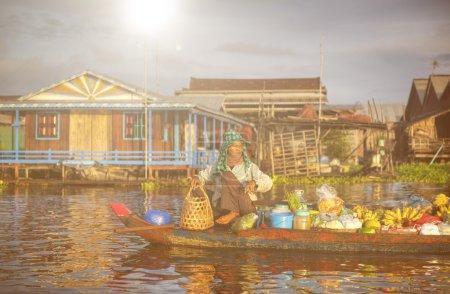 Cambodian Seller In Floating Market