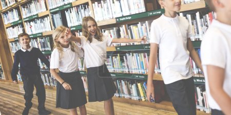 Photo for Children together at school library, Education Concept, Original photoset - Royalty Free Image