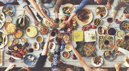People enjoying food