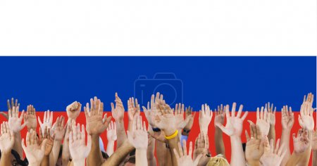human hands raising up
