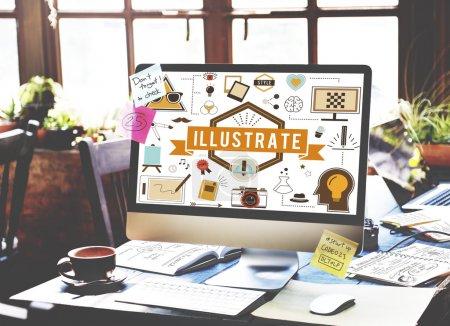 Foto de Ordenador con información en pantalla, ilustran el concepto - Imagen libre de derechos
