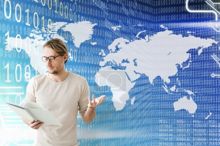 businessman working with world map