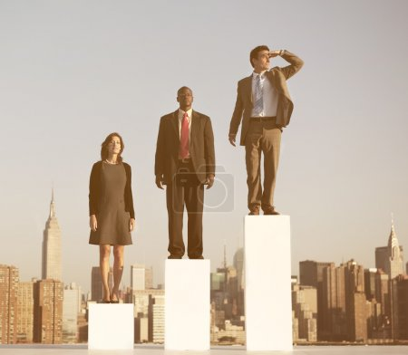 Business people standing on growth chart