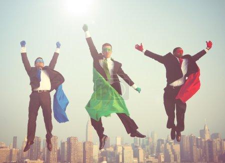 Superhero Businessmen Flying