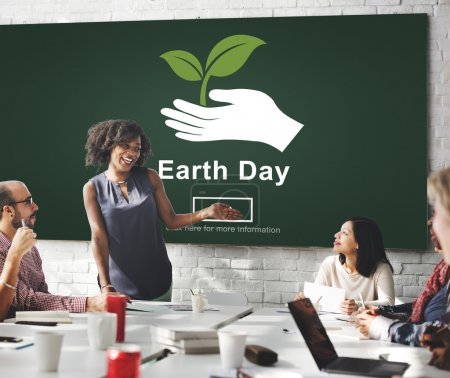 Business meeting with earth day
