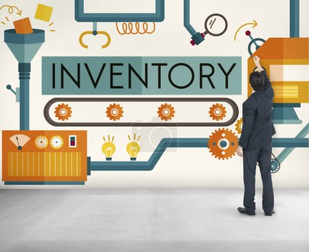 businessman working with Inventory Concept