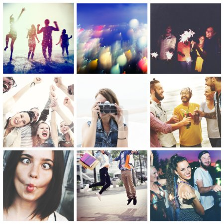 Friends and Enjoyment, happy life collage