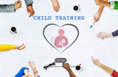 Multiethnic People Pointing on Child Training