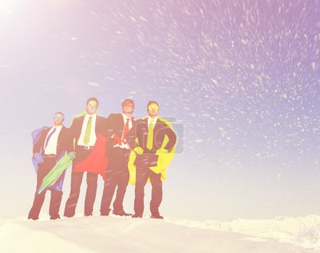Business Superheros in Winter Snow