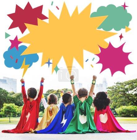 Superhero Kids playing outdoor