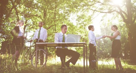 group of office workers outdoors