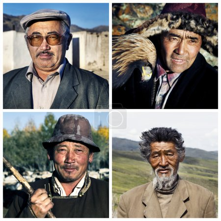 Collage with mongolian people