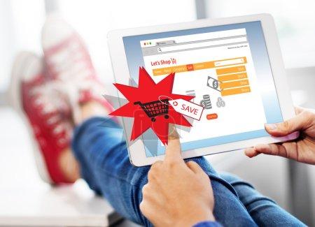 person browsing digital tablet