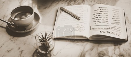 Diary with handwriting notes