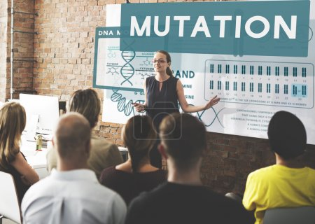 people at conference with mutation