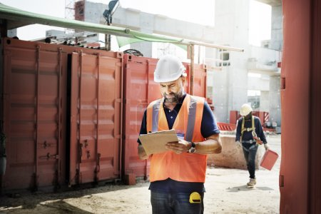 construction Worker staying at building site