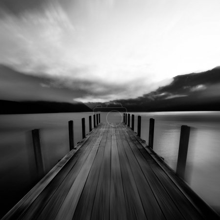 lake with jetty in New Zealand