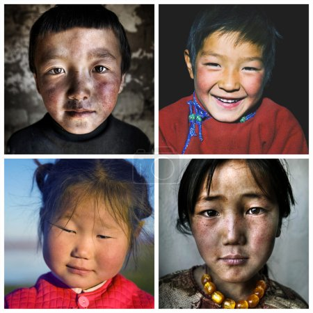 Collage with mongolian children