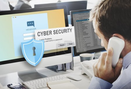 businessman working on computer with cyber security