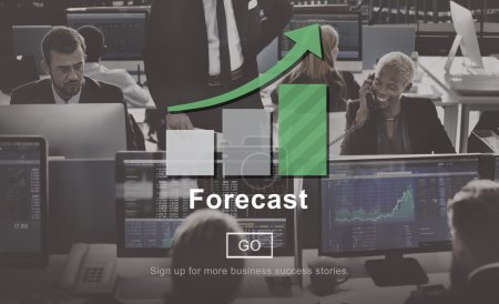 business people working and forecast