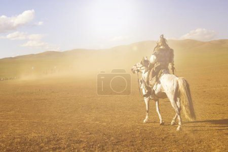 knight on horse at Battle field