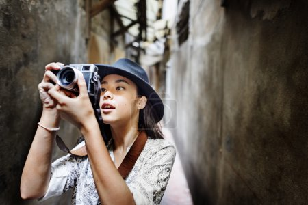 Travel woman with camera