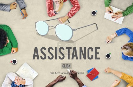Business People Pointing on Assistance Concept