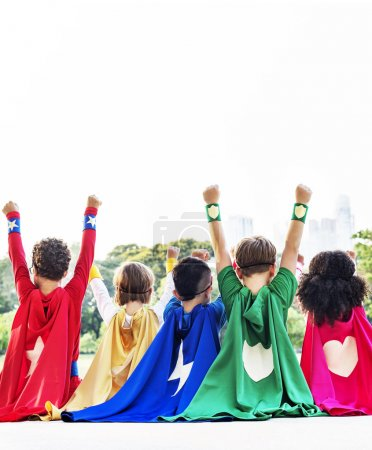 Superheroes Kids Playing Together