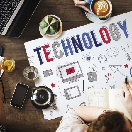 table with poster with Technology