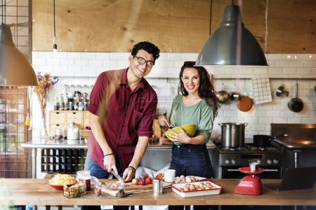 Young couple Cooking food