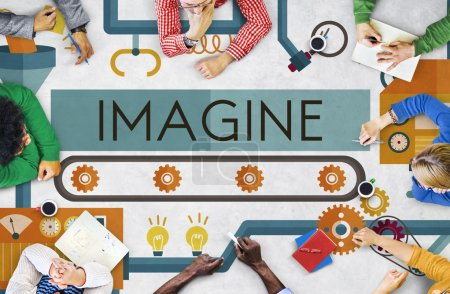 Business People Pointing on Imagine Concept