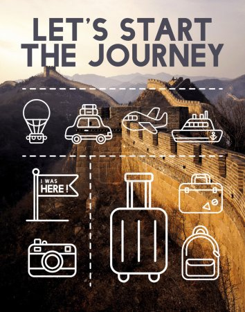 Photo for Ancient Chinese Great Wall, Lets Start The Journey Concept - Royalty Free Image
