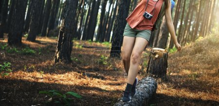 Photo for Woman walking in forest, outdoors concept - Royalty Free Image