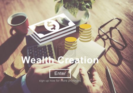Man working with Wealth Creation Concept