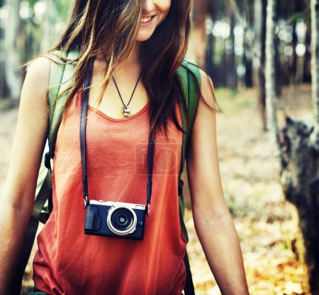 Girl travel with camera