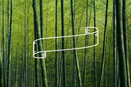 Photo pour Image bannière graphique ruban pour le texte de l'espace de la copie et bambous sur fond - image libre de droit