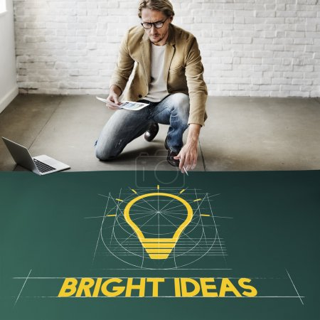 Photo for Businessman Working with Bright Ideas, Think Innovation, Creative Imagination Concept - Royalty Free Image