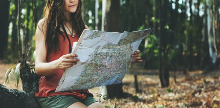 beautiful girl with map