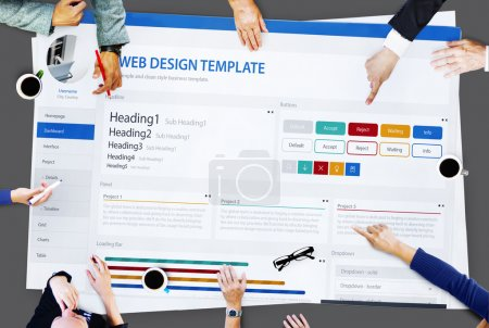 Business People Pointing on Website Concept