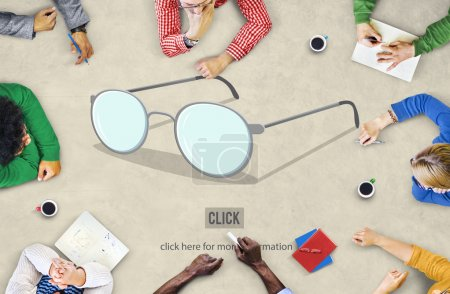 Business People Pointing on Glasses Concept
