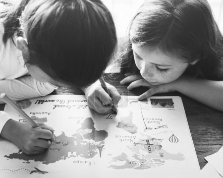 Girls Drawing in coloringbook
