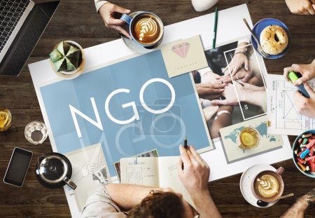 table with poster with ngo