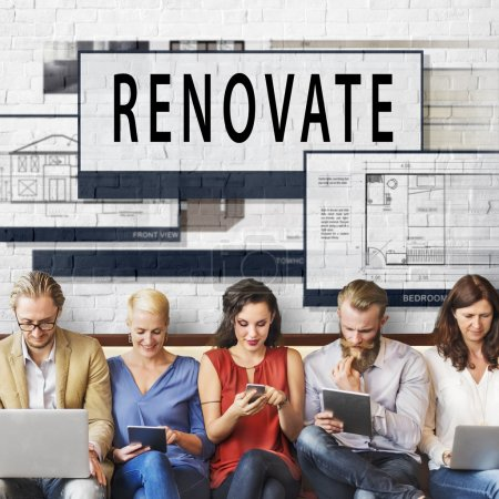 people sit with devices and renovate