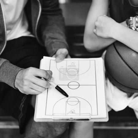 Basketball coach and boy