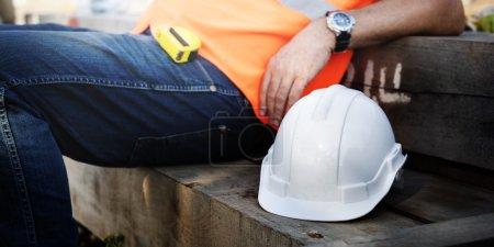 Construction Worker and helmet