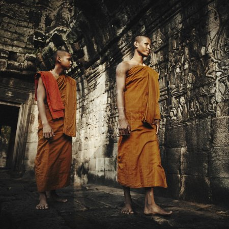 Contemplating Monks, Cambodia